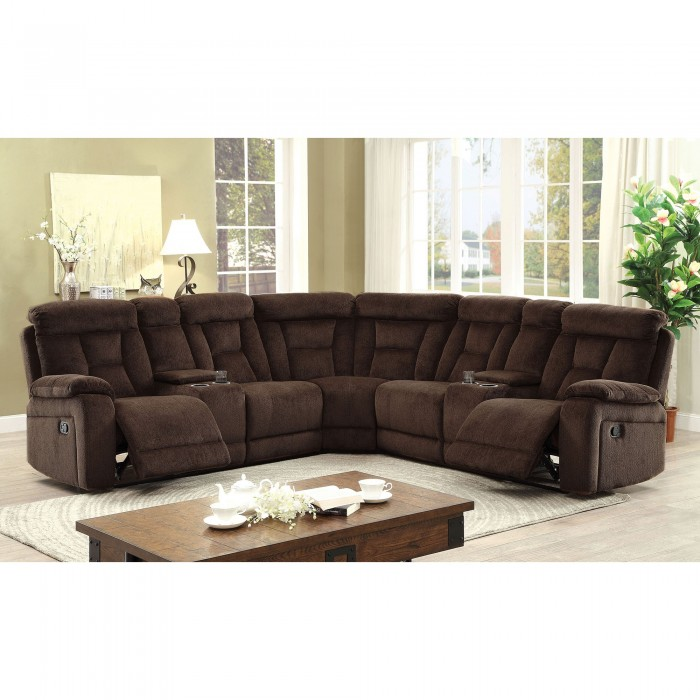 Furniture of america sectional w 2 consoles brown for Plush living room furniture