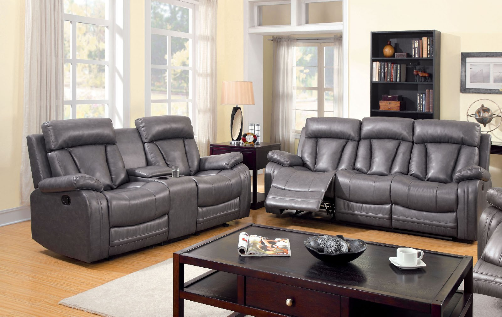 3 Pc Motion Sofa Set Sofa Loveseat Recliner Gray Bonded Leather Living Room S