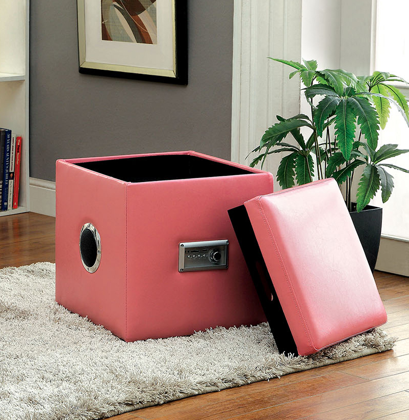Enjoy your playlists with friends in this chic, portable ottoman with Bluetooth wireless speakers.